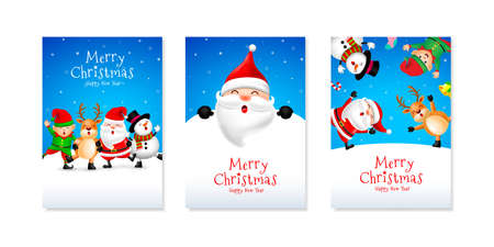 Set of Christmas card design, Santa Claus, Snowman, Reindeer and Elf. Merry Christmas and Happy new year concept. Illustration.
