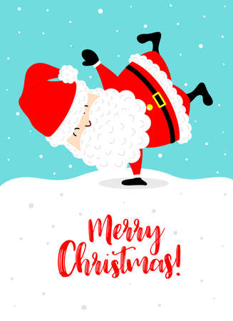 Cartoon santa claus greeting card design. Merry Christmas and Happy new year concept. Vector illustration.
