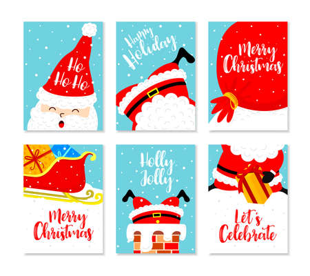 Christmas card set. Merry Christmas and Happy New Year greeting with cute santa claus. Vector illustration. Vettoriali