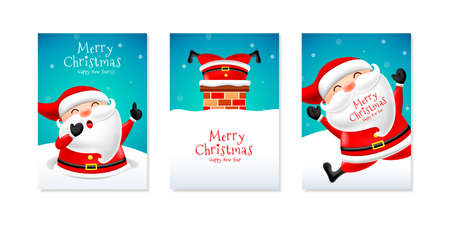 Christmas card set with cute santa claus. Merry Christmas and Happy new year concept. Illustration.