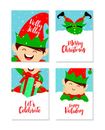 Merry Christmas and Happy New Year greeting with cute little elf. Christmas card set. Vector illustration.