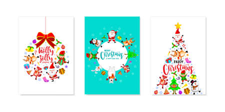 Set of Christmas card design, Santa Claus, Snowman, Reindeer Elf, bear and fox. Merry Christmas and Happy new year concept. Illustration. Ilustração