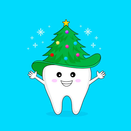 Happy tooth with Christmas tree hat. illustration Isolated on blue background. Funny dental care concept. Ilustração