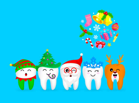 Christmas Teeth Characters design, Santa Claus, little elf, snowflake, Christmas tree and Reindeer. Merry and bright Christmas concept. Illustration on blue background.