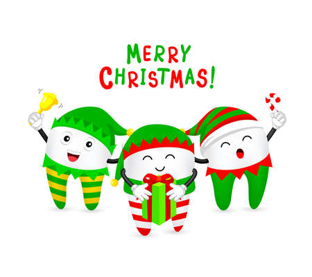 Cute Christmas tooth characters little elf. Bright smile for Christmas concept. Funny dental care concept. Illustration. Ilustração