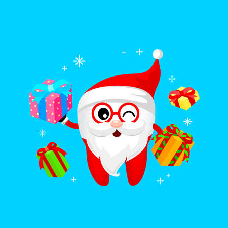 Happy tooth become Santa Claus with gift boxes. illustration Isolated on blue background. Funny dental care concept.