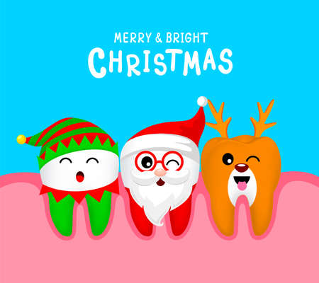 Christmas Teeth Characters design, Santa Claus, little elf and Reindeer. Merry and bright Christmas concept. Illustration on blue background.