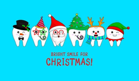 Set of Christmas tooth characters.  Santa Claus, Snowman, elf and Reindeer. Bright smile for Christmas, dental care concept. Vector illustration isolated on blue background.