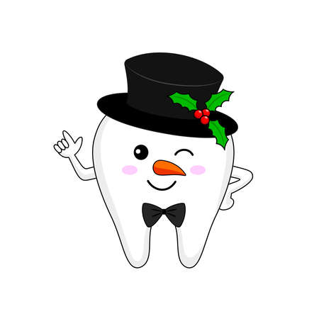 Christmas tooth characters. Bright smile for Christmas, dental care concept. Vector illustration.