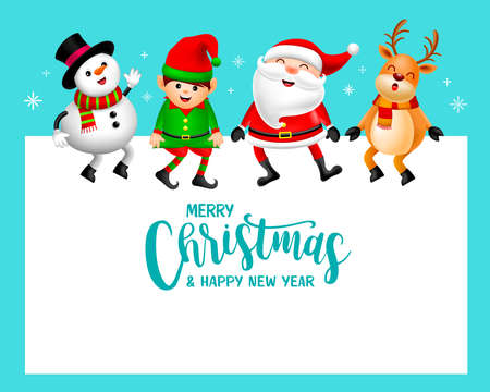 Funny Christmas Characters design, Santa Claus, Snowman, Reindeer and little elf. Merry Christmas and Happy new year concept. Illustration on blue background.