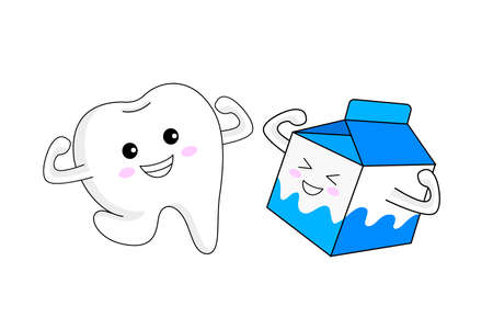 Cute cartoon tooth character with milk. Dental care concept. Vector illustration. Ilustração