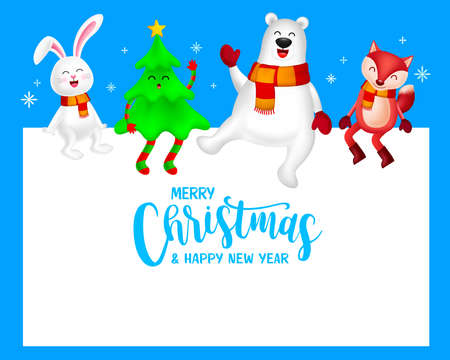 Funny Christmas Characters design, rabbit, Christmas tree, bear and fox. Merry Christmas and Happy new year concept. Illustration on blue background. Ilustração