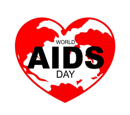 Aids in heart shape. World AIDS Day concept. Aids Awareness icon design for poster, banner, t-shirt. illustration. Ilustração