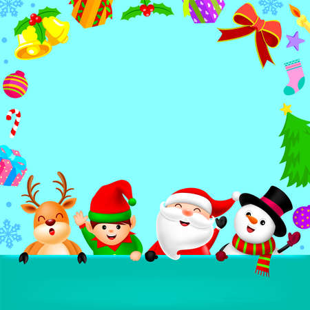 Cute cartoon Christmas character with Christmas elements and copy space. Santa Claus, Snowman, Reindeer and little elf. Christmas theme concept. Illustration. Ilustração