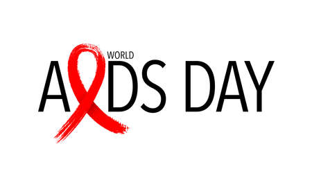 Aids with red ribbon in brush style. World AIDS Day. Aids Awareness icon design for poster, banner, t-shirt. illustration. Ilustração