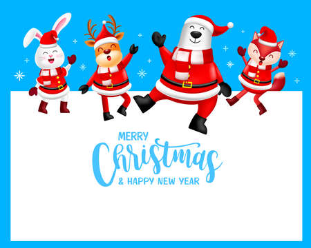Funny Christmas Characters design wearing santa costume. rabbit, deer, bear and fox. Merry Christmas and Happy new year concept. Illustration on blue background. Ilustração