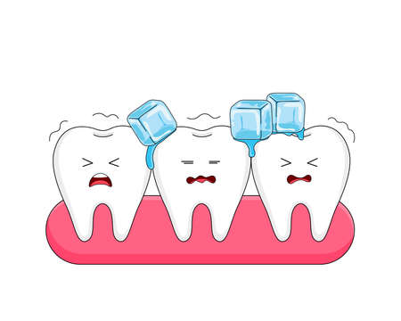 Cute cartoon sensitive teeth character with ice. Sensitive teeth to coldness. Vector illustration.