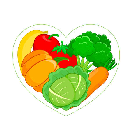 Fruits and vegetables in heart shape. Healthy food and organic food. Vector illustration