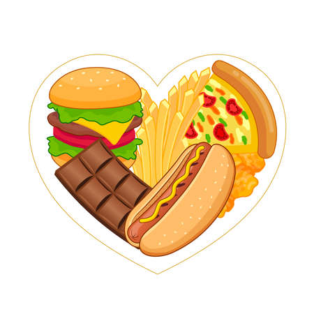 Unhealthy junk food in heart shape. Health care concept. Vector illustration.