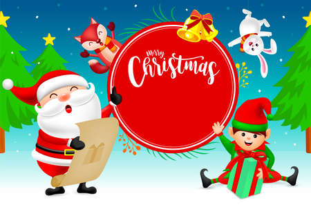 Cute Christmas Characters design on snow background, Santa Claus, little elf, rabbit and fox. Merry Christmas and Happy new year concept. Illustration.