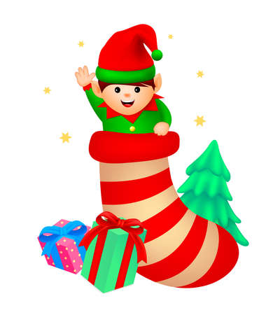Cartoon little elf in sock. Merry Christmas and happy new year. illustration