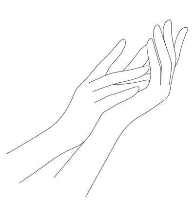Woman's hands. Line art graphic design. Vector illustration.