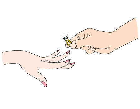 Man putting a diamond ring on woman's finger. Vector illustration Ilustração