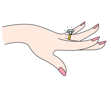 Woman showing off her diamon ring. Vector illustration.