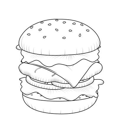 Burger doodle art. Fast food icon design. Vector illustration.