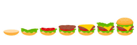stages of cooking burger process . Making fast food vector illustration.