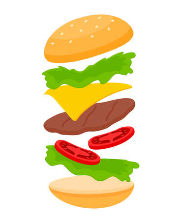 Big hamburger . Assemble burger ingredients . Making menu. Vector illustration.