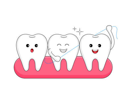 Cute cartoon tooth character with dental floss. Dental care concept. Human body part, vector illustration.