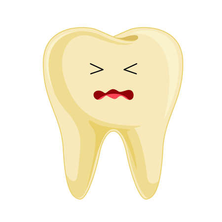 Yellow tooth cartoon character. It would like a clean and polish. Vector illustration.