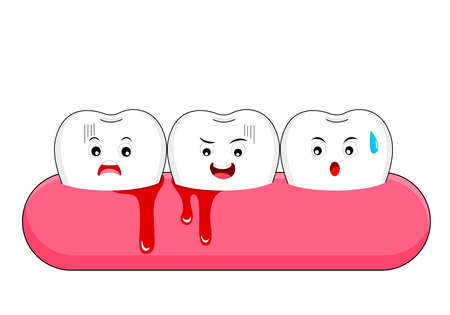 Cute cartoon tooth character with gum problem. Dental care concept, gingivitis and bleeding. Vector Illustration.