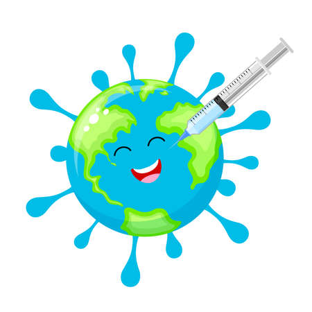 Syringe with the vaccine .   Protecting the world from the  virus Ilustrace