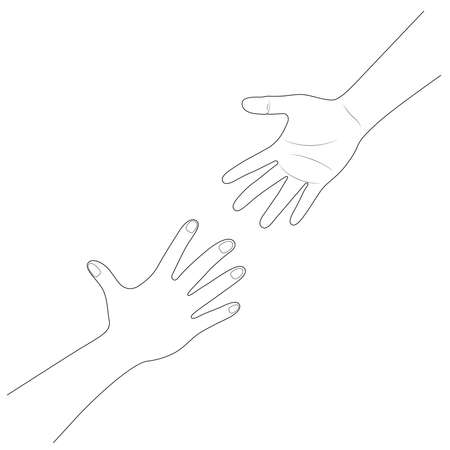 Hand reaching to each other. Helping hand. Close up body part. Love relationship teamwork together. line art, vector illustration. Ilustração