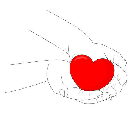 Human hand line art holding red heart. Vector illustration.