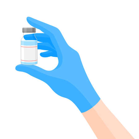 Doctors hand in blue gloves holding  virus vaccine. vaccination shot, medicine and drug concept. Vector illustration.