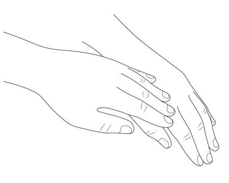People holding hands consolation encourage. outline style. Love and support concept. Vector illustration.