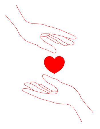 Human hands and hearts. volunteer or charity organisations emblems and signs.