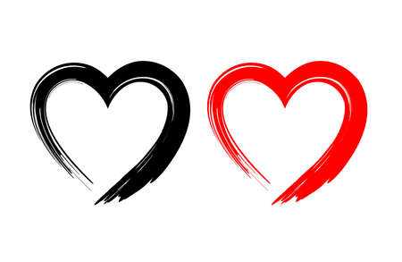 Black and red heart shape. Design for love symbols. Brush style. vector Illustration.