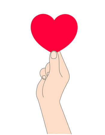 Human hand holding a red heart. Give and share love to people concept. Happy valentines day. Vector illustration.