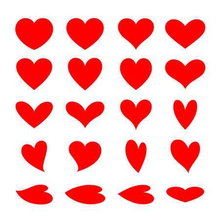 Set of red heart icon design. Symbol of love. Vector illustration.