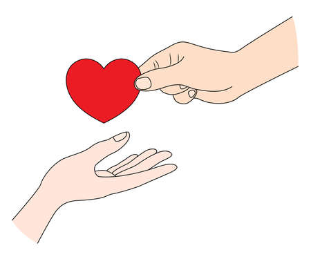 Young man giving heart symbol to girlfriend, love concept. Happy valentines day. Vector illustration.