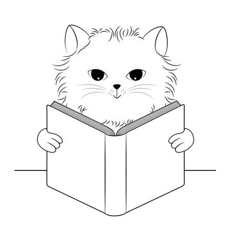 Cute cat reading book. Cartoon character design. Outline illustration.