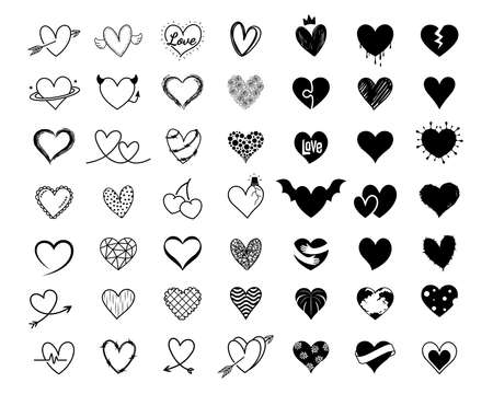 Heart icon design set. Hand drawn line art style for Valentine's day. Vector illustration.art,