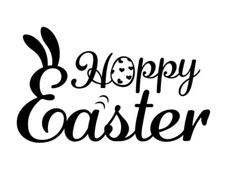 Handwritten lettering design with bunny's ears. Happy Easter calligraphy. Vector illustration for  banners, posters, greeting postcards.