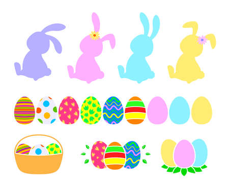 Set of Easter symbols. Easter rabbit, easter eggs, flat style. Vector illustration. Ilustração