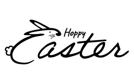 Handwritten lettering design with bunny. Happy Easter calligraphy. Vector illustration for  banners, posters, greeting postcards.