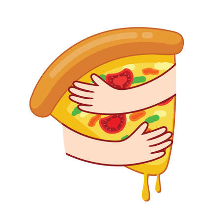 Embraces pizza icon design. Hugging pizza. Pizza lover, vector illustration. Ilustrace